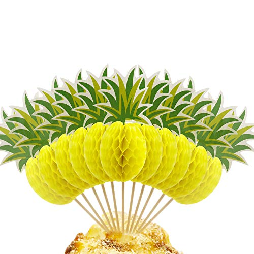 BTSD-home 3D Pineapple Cupcakes Party Supplies Toppers Food Picks Party Cocktail Tropical Cupcake Picks Decoration(50 -