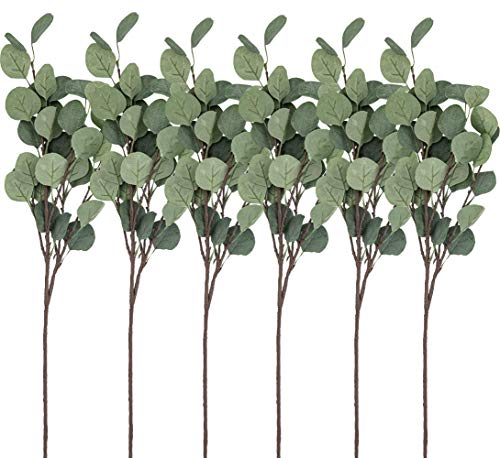 HEBE 6 Pcs Artificial Dollar Eucalyptus Leaf Fake Silk Eucalyptus Leaves Branches Floral Greenery Stems for Home Party Wedding ()