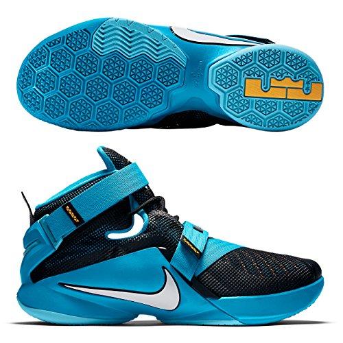 Nike Herren Lebron Soldier IX Basketballschuh Schwarz / Weiß-Blau Lagoon-Laser Orange