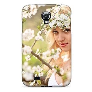 HbKIbPw4061FqMIm Beautiful Girl In Flowers Fashion Tpu S4 Case Cover For Galaxy
