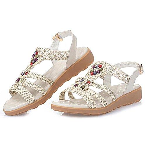 Sandals xiaolin Summer Flat Flat Bottom Heel Student Shoes Leather Soft Bottom Large Size Shoes(Optional Size) 01 tsLLjbOSn