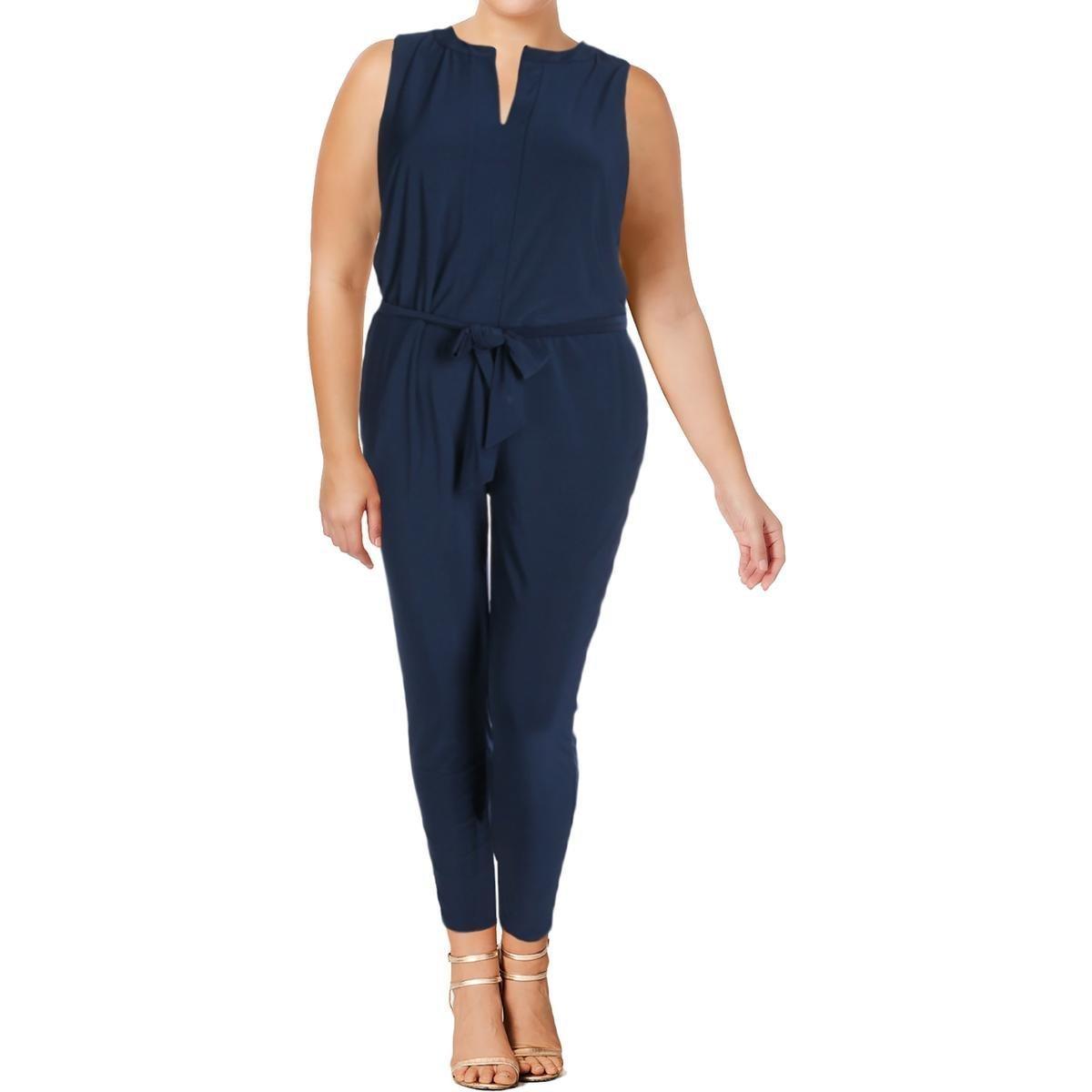 Lauren Ralph Lauren Womens Plus Nadalia Sleeveless Jumpsuit Navy 3X