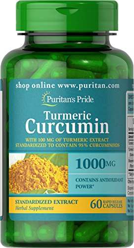 Puritans Pride Turmeric Curcumin 1000 Mg W Bioperine Capsules  60 Count