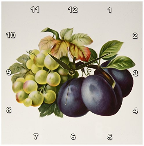 3dRose dpp_104635_1 Vintage Fruit Illustration Green Grapes and Plums-Wall Clock, 10 by 10-Inch