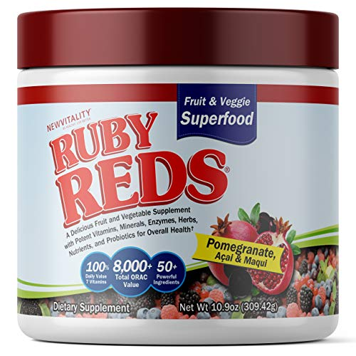 Ruby Reds | Delicious Reds Powder Fruit & Vegetable Supplement with Potent Vitamins, Minerals, Enzymes, Herbs, Nutrients and Probiotics for Overall Health 11 oz. + Recipe E-Book! (Pack of 1)