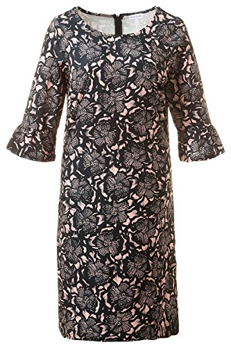 GINA_LAURA Damen | Jersey-Kleid | Volant-Ärmel| Größe S-XXXL | 3/4-Arm, verdeckter Rückenreißverschluss | Jersey | rosé XXL 710958 68-XXL