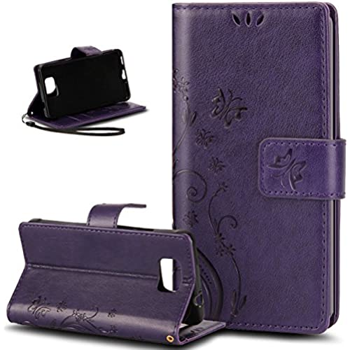 IKASEFU Pure Color Retro Butterfly Design Folio Leather Wallet Case Cover with Strap for Samsung Galaxy S7-Butterfly,Purple Sales