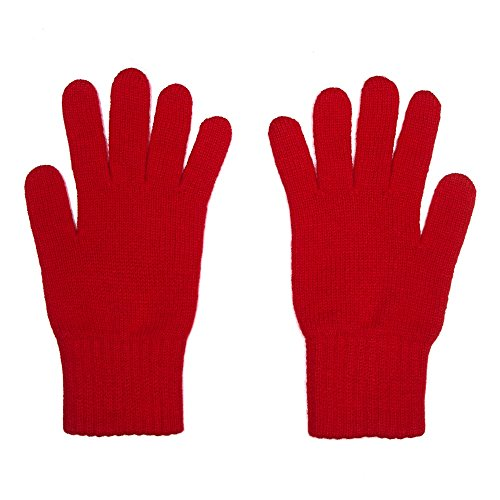 Womens 100% Cashmere Gloves, Made In Scotland, Red