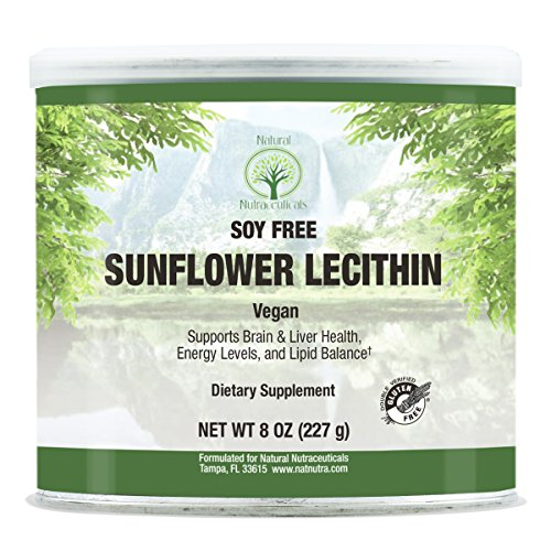 - Natural Nutra Sunflower Lecithin Powder, Non GMO, Soy Free with Inositol, Omega 3-6 and Choline, 8 oz Vegan Supplement