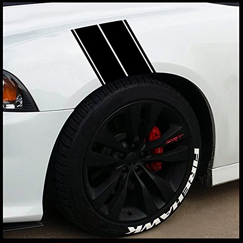 (Fender Stripes Vinyl Hash Marks - Universal Racing Stripe Sticker Set for car/Truck (Gloss Black))