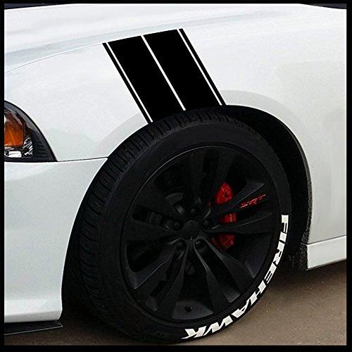 Matte Stripe (Fender Stripes Vinyl Hash Marks - Universal Racing Stripe Sticker Set for car/Truck (Matte Black))