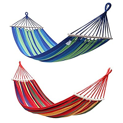 """Rusee Double 2 Person Cotton Fabric Canvas Travel Hammocks 450lbs Ultralight Camping Hammock Portable Beach Swing Bed with Hardwood Spreader Bar Tree Hanging Suspended Outdoor Indoor Bed, 59"""" Wide"""