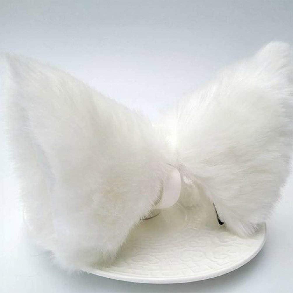 Binghotfire Cosplay Party Cat Fox Longues Fourrures Oreilles Neko Costume Pince /à Cheveux Halloween Orecchiette