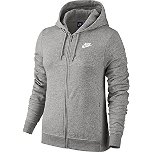 NIKE Sportswear Women's Full Zip Hoodie, Dark Grey Heather/Dark Grey Heather/White, Large