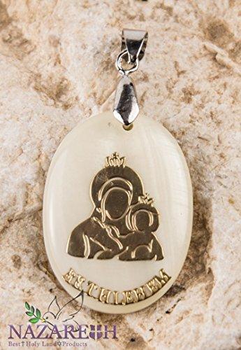 Bethlehem Holy Mary with Jesus Mother of Pearl Pendant Madonna Amulet Handmade ()