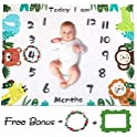 "TUMAMA Soft Fleece Baby Monthly Milestone (47"" x 39"") Blanket"