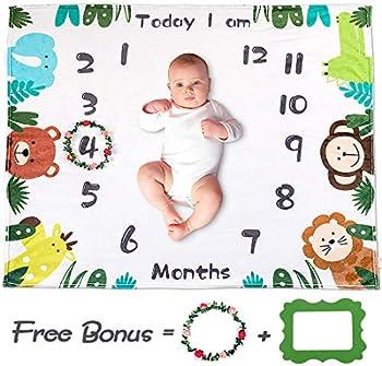 TUMAMA Soft Fleece Baby Monthly Milestone (47