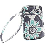 quilted wallets for teen girls - Wristlet Wallet for Girls Quilted Fun Designs with Phone Pouch (Grey & Teal Quatrofoil)