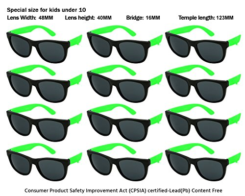 Edge I-Wear Kids 12 Pack 80's Neon Sunglasses with CPSIA Certified Lead (Pb) Content Free and UV 400 Lens (Made in Taiwan) - Cheap Plastic Sunglasses