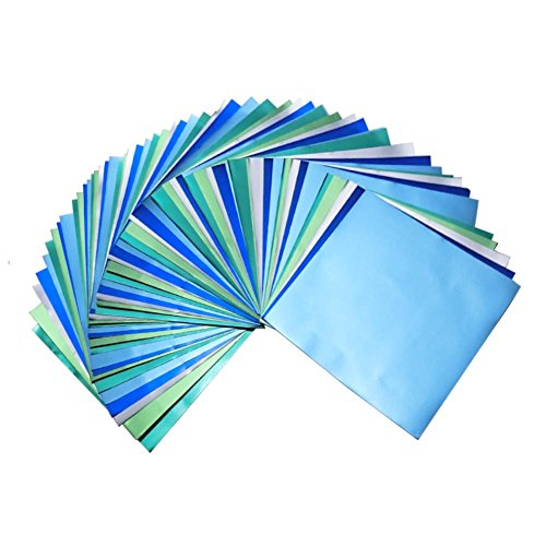 (Bluish Foil Paper 90 Sheets Pack, Origami Folding Paper Metallic Blue Colors, 5.9