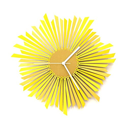 The Sun - Stylish Yellow and Gold Wooden Wall Clock, a Piece of Wall Art