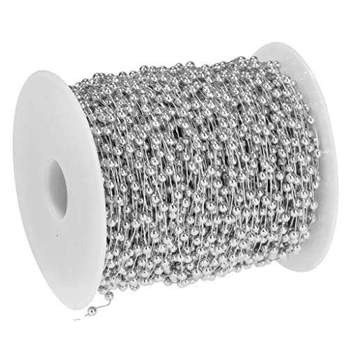 BROSCO 197ft Bead Chain Garland Party DIY Decoration Flowers Wedding Party Festival | Color - Silver]()
