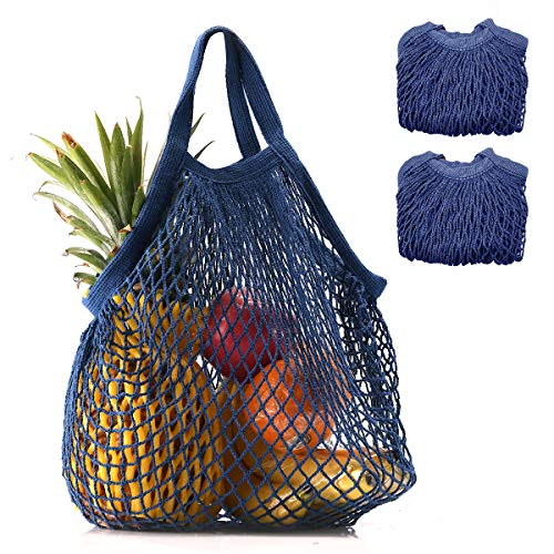 Coofig 2 PCS Eco-Friendly Cotton Net Shopping Bag Reusable Mesh Tote Handbag with Short Handles Portable String Bag Organizer for Shopping/Outdoor Packing/Beach Toys/Fruit/Vegetable(Navy Blue s) ()