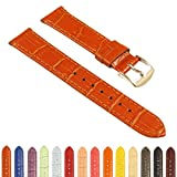 StrapsCo Crocodile Embossed Women's Leather Watch Band - Quick Release Strap - 10mm 12mm 14mm 16mm 18mm 20mm 22mm 24mm