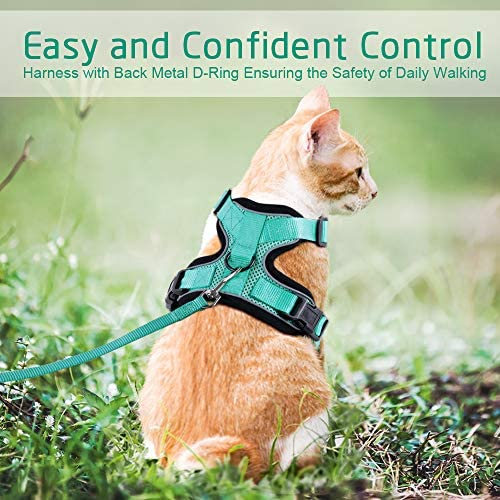 rabbitgoo Cat Harness and Leash for Walking, Escape Proof Soft Adjustable Vest Harnesses for Cats, Easy Control Breathable Reflective Strips Jacket 30