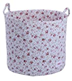 Minene Storage Basket Blue Flowers Large- round storage baskets, large fabric storage basket - great for toy storage, kids storage and as a laundry basket-christmas by Minene