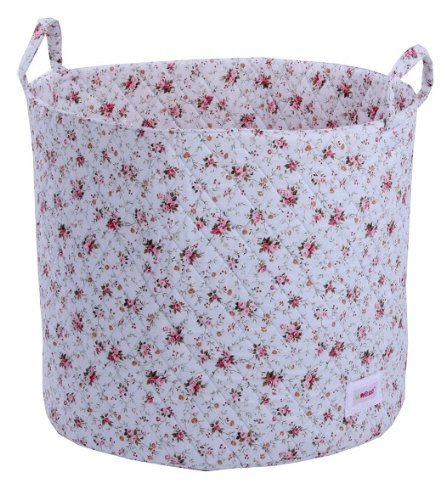 Minene Storage Basket Blue Flowers Large- round storage baskets, large fabric storage basket - great for toy storage, kids storage and as a laundry basket-christmas by Minene by Minene UK LTD