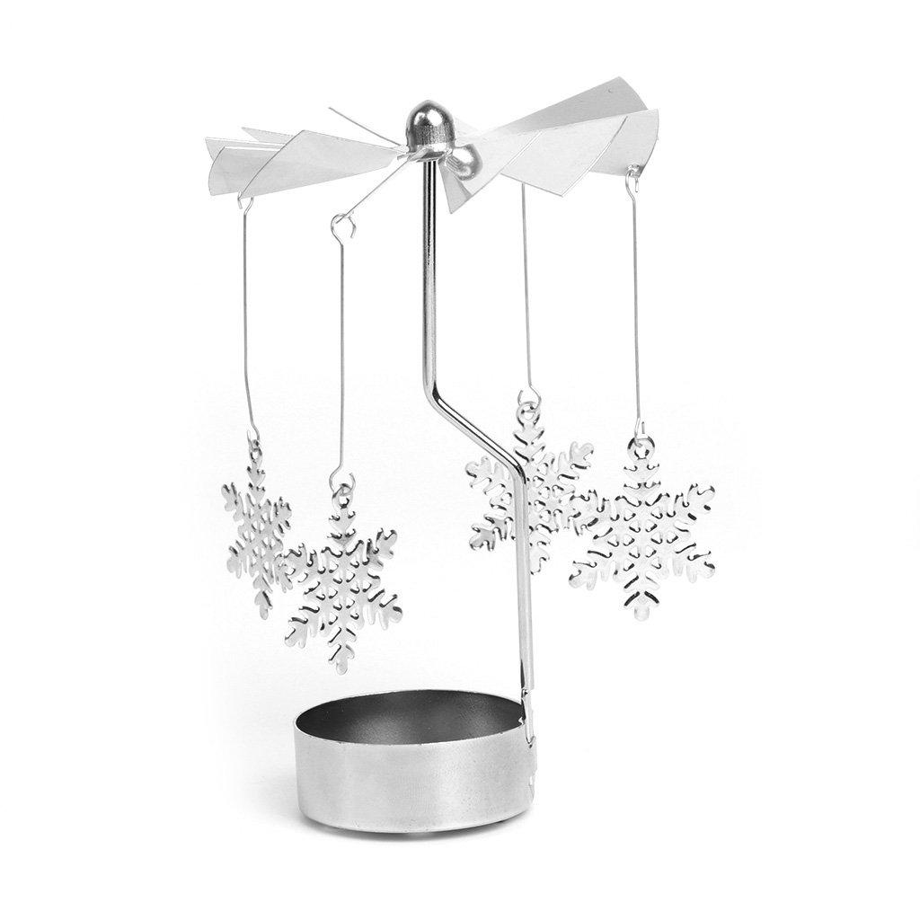 YDZN Rotary Spinning Tealight Candle Metal Tea light Holder Carousel Home Decor Christmas Gift (Snowflake)