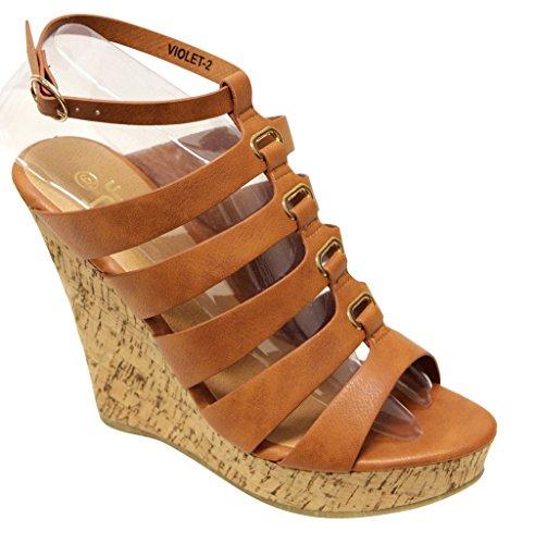 (Betani Violet-2 women's High Heel Wedge Platform Multi Crossover straps Buckle Cork Sandals Chestnut 7.5)