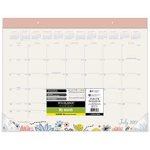 "AT-A-GLANCE Academic Desk Pad Calendar, July 2017 - June 2018, 21-3/4"" x 17"", Claire (D1014-704A)"
