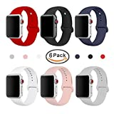 MUZZAI For Apple Watch Band 38mm 42mm, 6-Pack Colorful Sport Silicone Strap Replacement Band for Apple Watch Series 3, Series 2, Series 1, Nike+, Edition, Women (6 Pack 42mm, Small)