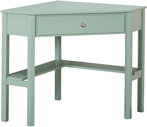 This Classically Styled Desk utilizes a Small Space for a Big Impact, with Stylish Under-Desk Shelving and a Drawer to Hide Clutter. Simple Living Wood Corner Computer Desk Mint