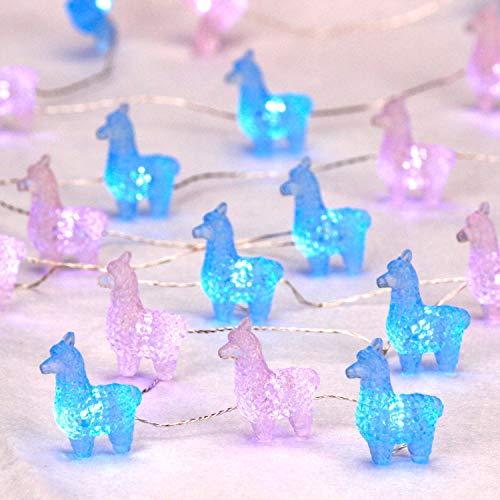 Impress Life Blue Pink 3D Alpacas String Lights Decorations,10 ft Copper Wire Llama Toys 30 LEDs, Plug-in and Battery Powered with Remote for Indoor Bed Mirror Wedding Kids Birthday Party Gift