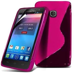 (Rosa) Alcatel One Touch M S Línea Pop Onda protectora cubierta Gel Piel y Protector de pantalla LCD de Fone-Case