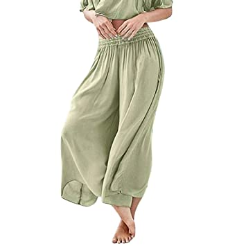 e694201095 Amazon.com : Fashion Womens Casual Pants Sexy Wide Leg Loose Pants Solid  High Waist Elastic Pants Long Length Petite Denim Pants (L, GREEN) : Beauty