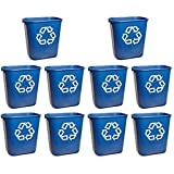 Rubbermaid Commercial 295573BE Small Deskside Recycling Container, Rectangular, Plastic, 13.625qt, Blue (10 Trash Cans (13.625 Quarts))