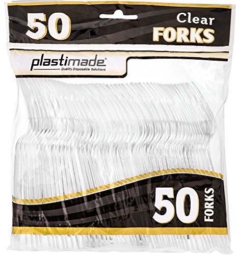 [50 Clear Forks] Plastimade Disposable Heavy Duty Plastic Cutlery,Great for Every Day Use, Home, Office, Party, Picnics, or Outdoor Events,