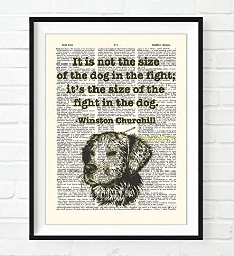 It's Not the Size of the Dog in the Fight, It's the Size of the Fight in the Dog, Winston Churchill Quote Art Print, Unframed, Vintage Highlighted Dictionary Page Wall Art Decor Poster Sign, All Sizes
