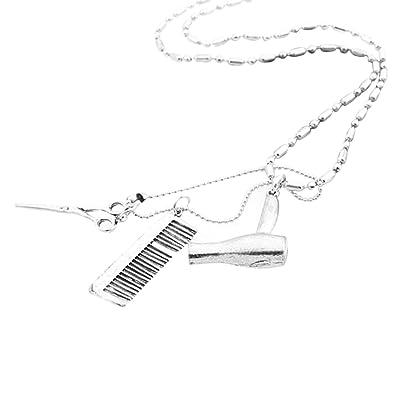 Merssavo Secador de Pelo / Tijeras / Peine Cuelgan Collar Colgante Tijeras Joyería Barbero Regalo: Amazon.es: Joyería