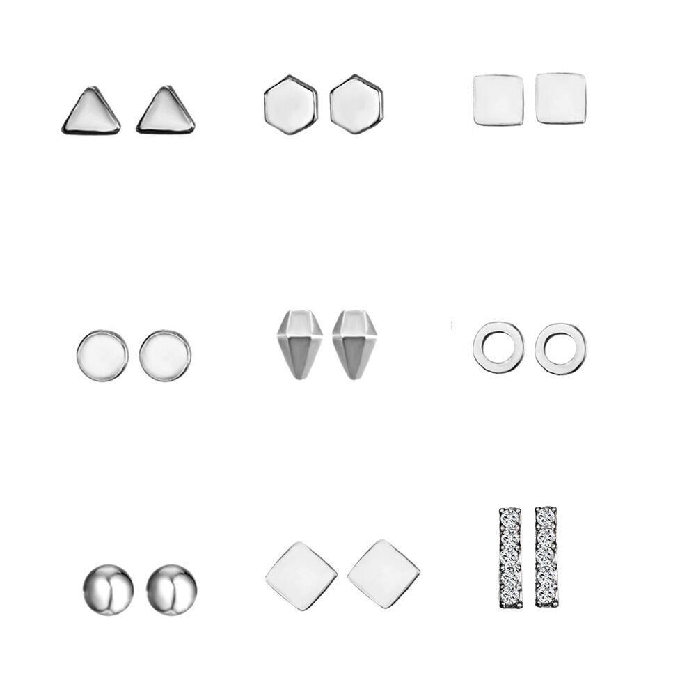 Rinhoo 9 Pairs Hypoallergenic Assorted Bead Charms Multiple Stud Earring Set Women Girls Jewelry (Silver) Rinhoo Jewelry 16EA142R1