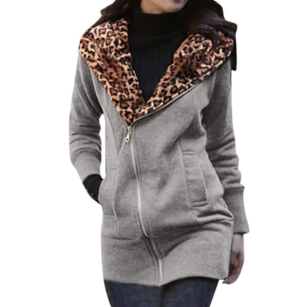 Keliay Women's Leopard Print Long Sleeve Zipper Coat Jacket Outwear