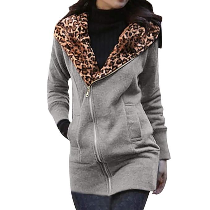 ... Women es Leopard Print Long Sleeve ReißVerschluss Mantel Jacke  übertragen Frauen Leopard Kapuzen ReißVerschluss Langen Pullover   Amazon.de  Bekleidung 7b5c990510