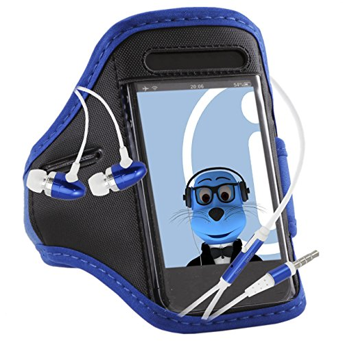 iTALKonline HTC One M9 Blue Black Adjustable Water / Moisture Resistant Sports GYM Jogging Running ArmBand Arm Band Case Cover with Key Money Headphone Pocket includes 3.5mm Aluminium Headphones Handsfree Mic and On/Off Switch