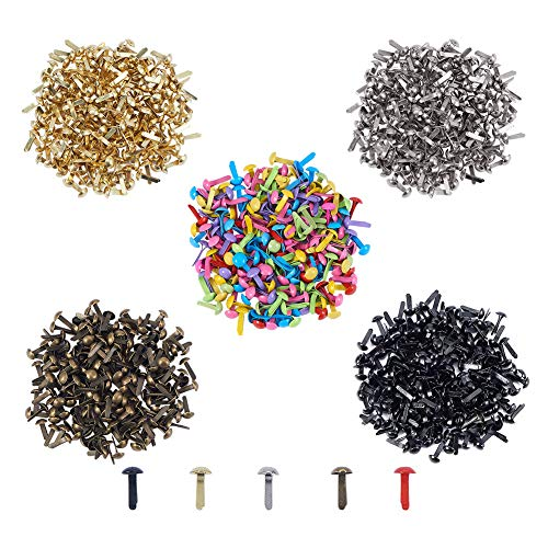 Brads Metal Scrapbooking (PH PandaHall 1000pcs 5 Colors Mini Brads Fasteners Metal Paper Fasteners Iron Plated Scrapbooking Brads for Crafts Making DIY)