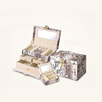 Cajas de joyería Caja de joyería con Cerradura de Mano Caja de Almacenamiento de joyería Caja