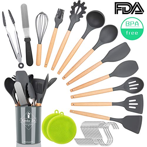 NEXGADGET Kitchen Utensil Set,30 Pieces Silicone Natural Wooden Handles Cooking Utensils,Spatula Set,Nonstick Kitchen Gadgets Set,Household Kitchen Appliances,with Holder,Hooks,Scrubber